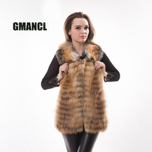 GMANCL Natural Real Red Fox Fur Vest Coat 2017 Winter Warm Fur Fashion Turn-down Collar Coat For Girls Sleeveless Ladys' Jacket