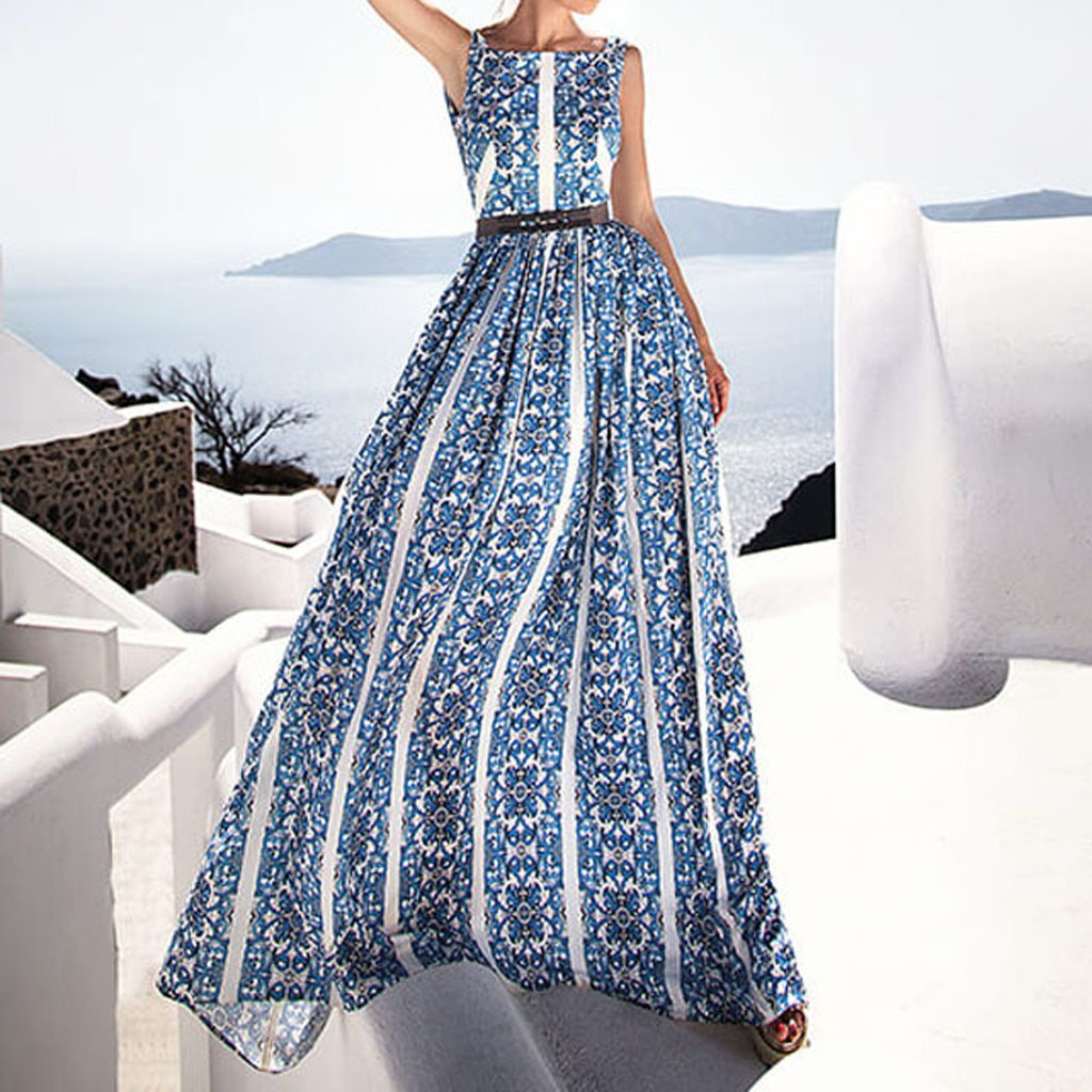 JAYCOSIN Floral print Women Sexy strap split beach summer Dresses Off  the  shoulder  Sleeveless Bohemian Party long dress  7 8
