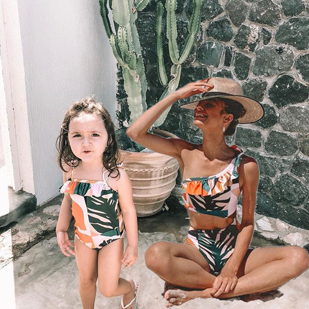 family-look-leaf-swimsuits-mother-daughter-swimwear-beach-mommy-and-me-clothes-high-waist-bikini-mom-mum-and-baby-matching-dress