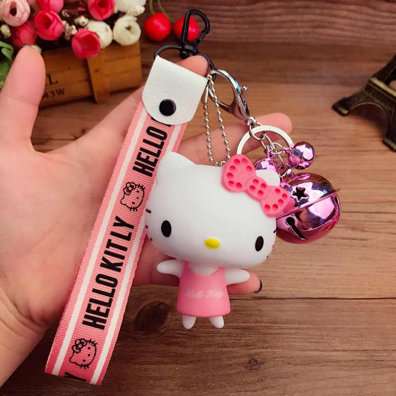 0f148dd2a07b 2018 New Hello Kitty Women Keychain Chimes Cute Cartoon Girls Gift Fashion  Wrist Band Car Bag