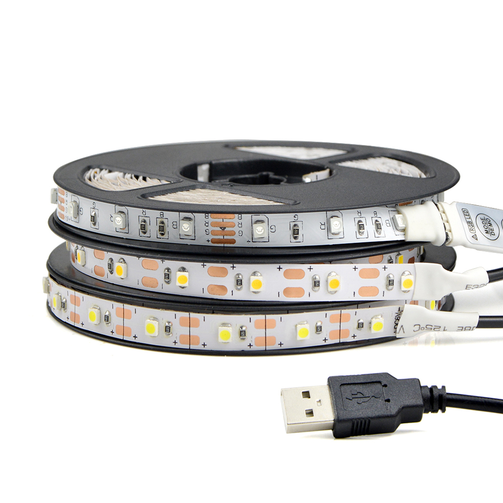 1Pcs DC5V USB Cable Power LED Strip Light 50CM 1M 2M 3M 4M 5M SMD 3528