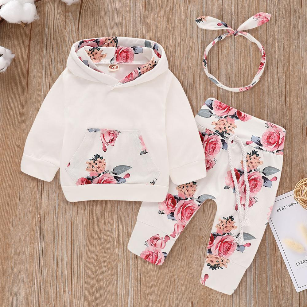 PatPat 2020 New Spring And Autumn Cotton Casual Beautiful Floral Long Sleeve Hoodie, Pants And Headband Set For Baby Girls