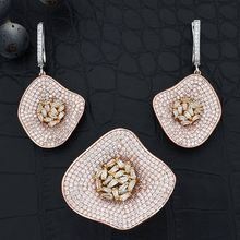 ModemAngel High Quality Luxury Cubic Zirconia Wedding Leaves Earring And Ring for Women Engagement Bridal Jewelry