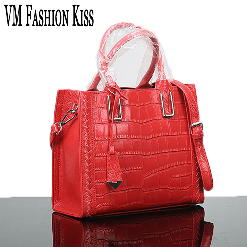 ФОТО VM FASHION KISS Brand Medium Luxury Handbags Women Bags Designer Crocodile Pattern Crossbody Bag Genuine Leather The First Layer
