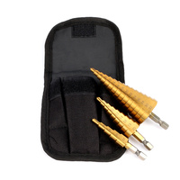 3 Pcs Stepped Drill Bits Hex Shank HSS Titanium Coated Straight Flute Pagoda Wood Tool Hand