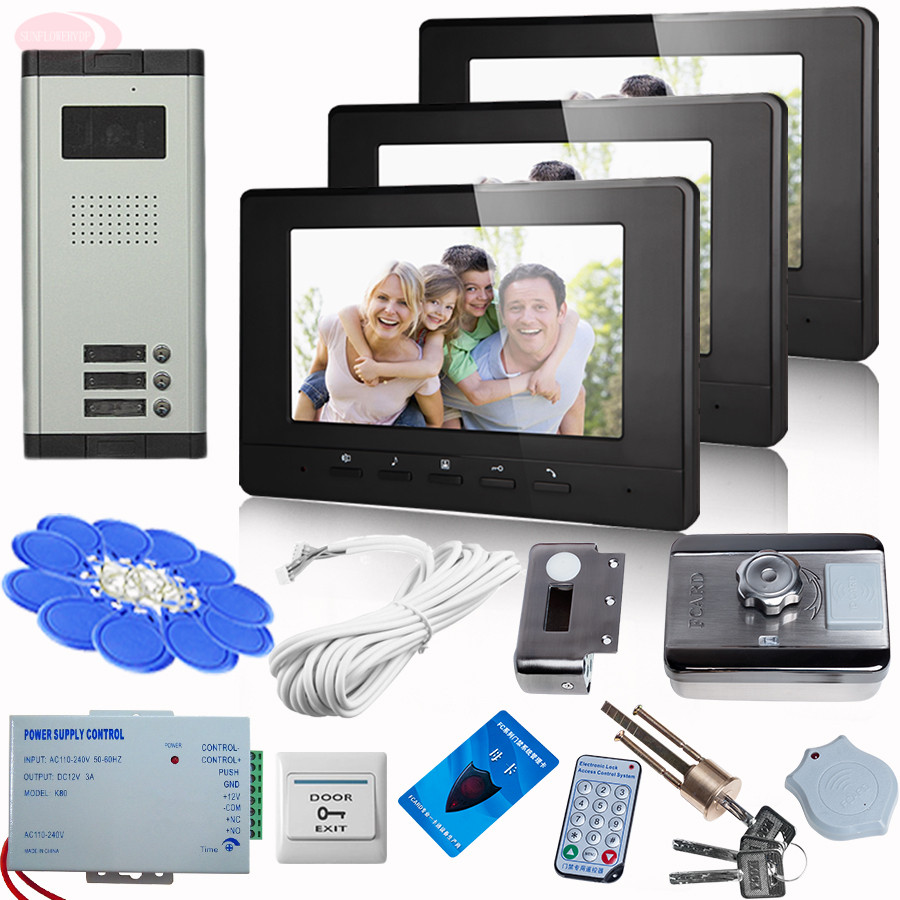 SUNFLOWERVDP Wired Intercom For Private House + Rfid Unlock Electronic Lock 7 Inch Video Call To The Door Night-vision 3 buttons sunflowervdp 7 color screen video door intercome phone call for home doorbell rfid unlock electronic lock intercom system 8 key