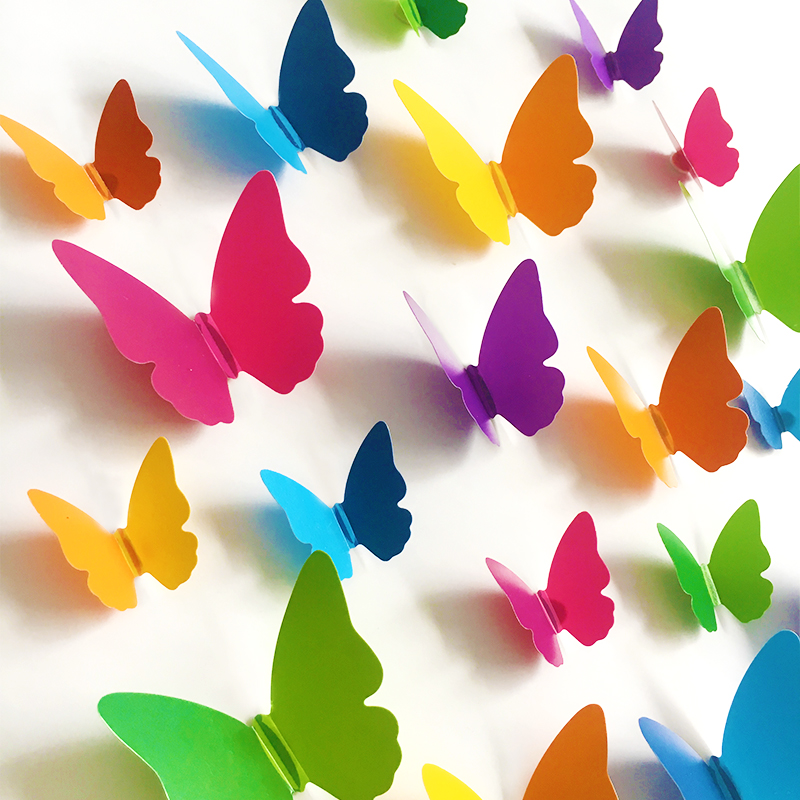 30pcs 3d Pvc Multicolor Butterfly Wall Sticker Art Decal Living Room Solid Color Butterflies For Home Decor Mural DIY Decals