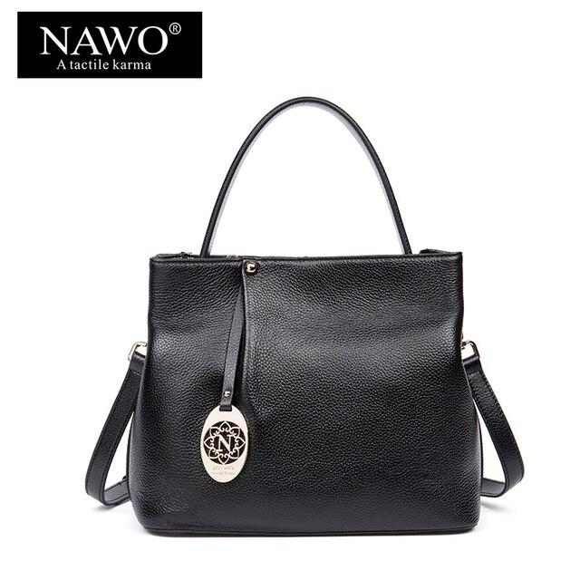 Nawo Women Genuine Leather Handbags Hot Sequined Female Crossbody Bag High Quality Bags Shoulder