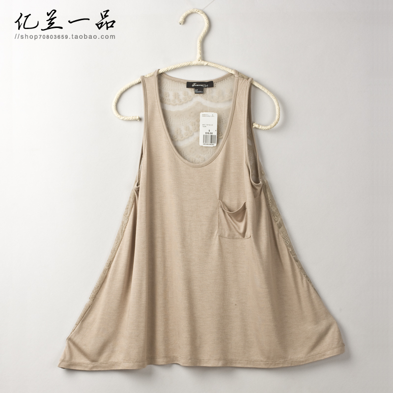 F21 fashion pocket lace patchwork all-match women's basic small vest spaghetti strap