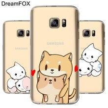 DREAMFOX M110 Kawaii Cute Cat Soft TPU Silicone Cover Case For Samsung Galaxy S5 S6 S7 S8 S9 S10 S10E Lite Edge Plus
