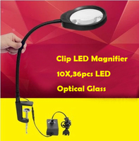 Multi functional Clip 36pcs LED 5X 8X 10X Desktop Magnifying Glass With Lamp For Reading Medical