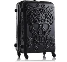 цены Travel tale personality fashion 19/24/28 Inch Rolling Luggage Spinner brand Travel Suitcase original 3d skull luggage