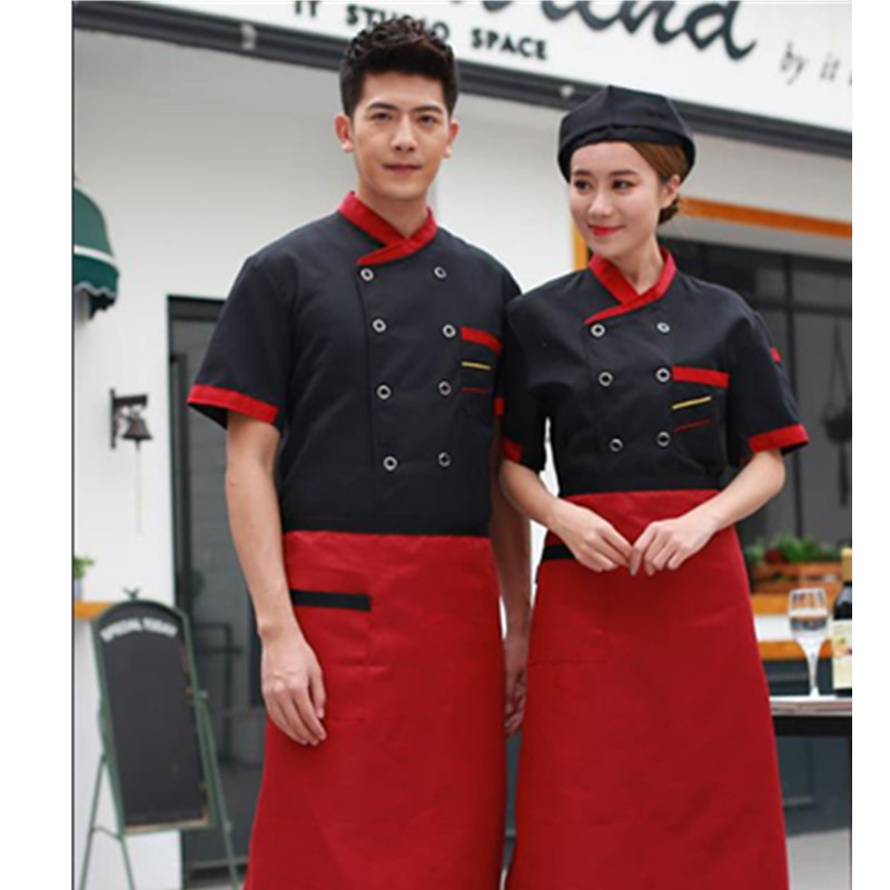 Hotel Chef Jacket Food Service Multiple buttons Short Sleeved Restauant Chef Uniform Food Service Clothing