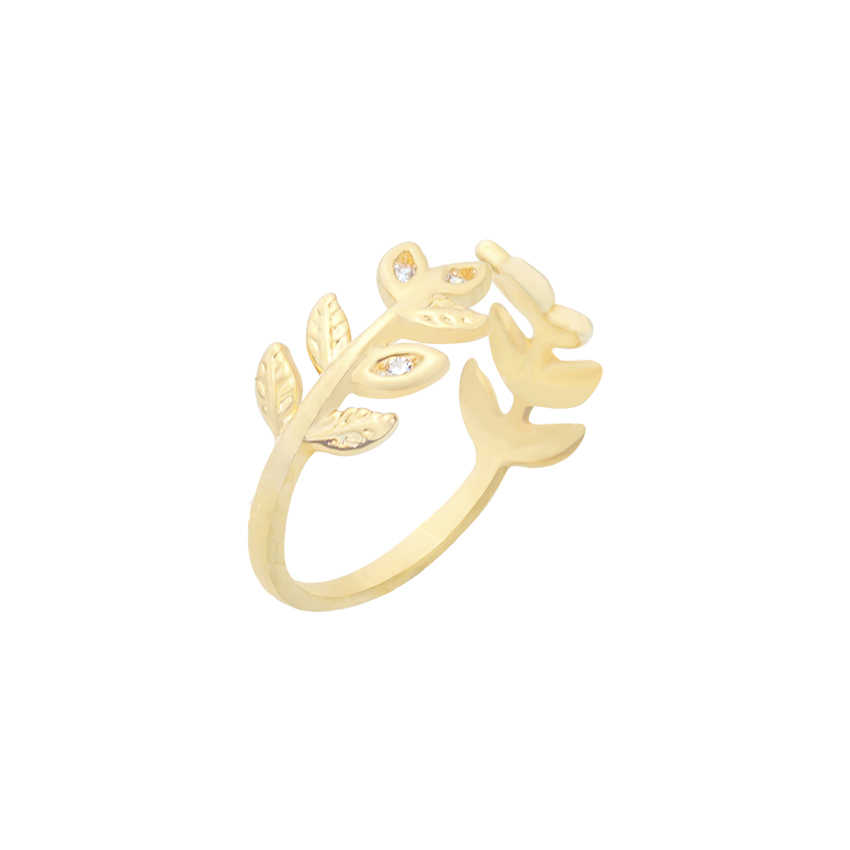 Planta Anel Aberto ajustável Charme Anéis de Folhas Do Vintage Romântico Ouro Rosa Cor de Jóias de Presente de Aniversário Namorada Donna Anello