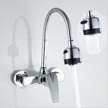 Настенный Stream опрыскиватель смеситель для кухни Одной ручкой хром гибкий шланг кухонный смеситель Водопроводной воды двойной отверстия Бесплатная доставка