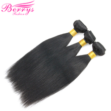 Human-Hair Straight Bundles Berrys Fashion Brazilian Weave Natural Black-Color 10-28inch