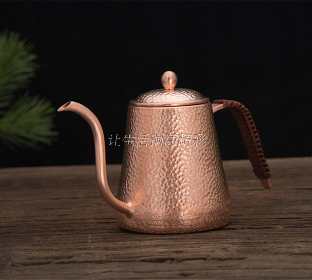 FeiC 1pcs 0 6L Copper Tea and Coffee Drip Kettle pot hot water for Barista