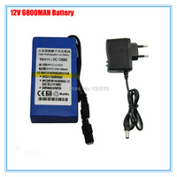 Rechargeable 12V Battery Pack DC 12680 12V 6800mAh Li ion Battery for wireless transmitter CCTV Camera 20pcs/lot Free shipping