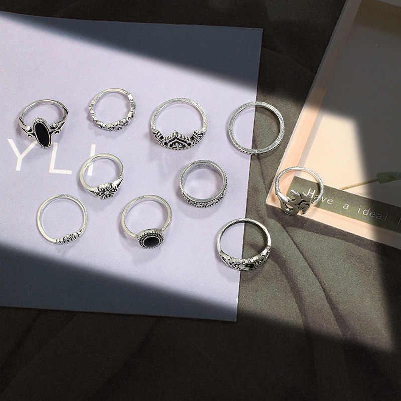 Cổ điển Finger Nhẫn Set Đối Với Phụ Nữ Người Đàn Ông Tinh Thể Màu Xanh Totem Tim Knuckle Phụ Kiện Vòng Statement Jewelry