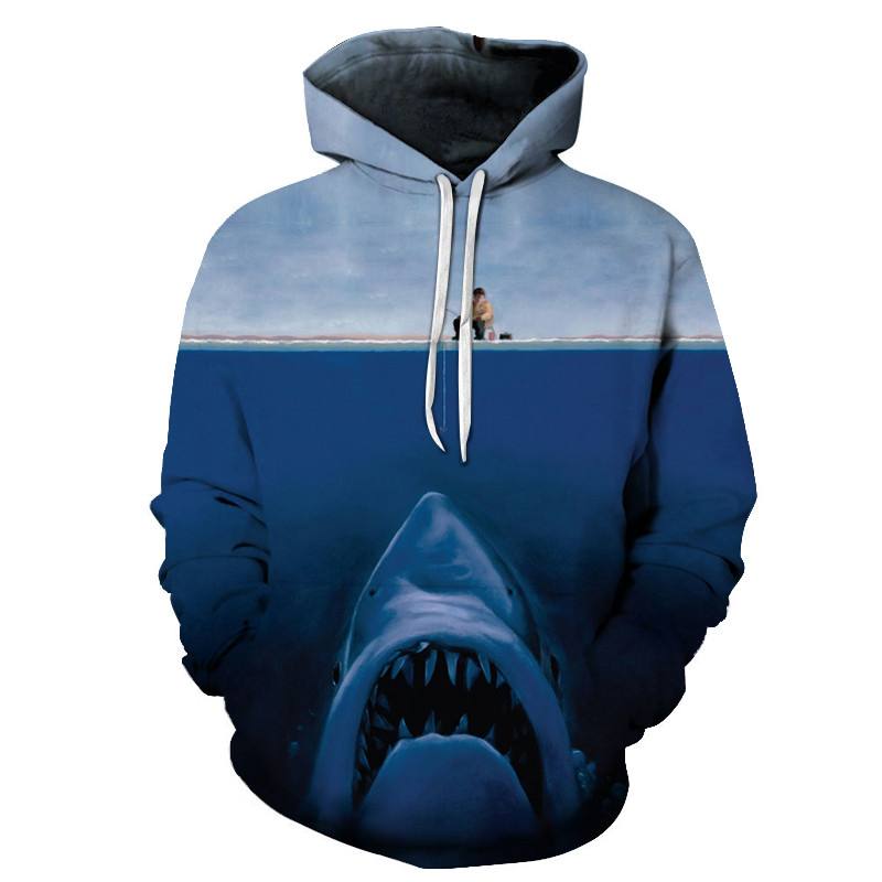 2018 New Shark Print 3d Hoodies Men WomenSweatshirts Pullover Male Summer Tracksuits Brand Anime Drop Ship