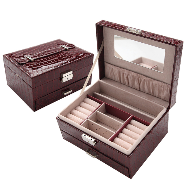 Korean Style Portable Drawer Jewelry Storage Boxes High grade Wooden