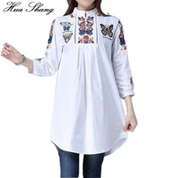 Spring Summer Women White Shirt Elegant Butterfly Embroidered Long Blouse Stand Neck A Line Slim Plus