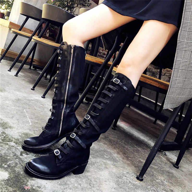 Prova Perfetto Moda Kadın Diz Yüksek Çizmeler Retro Sürme Önyükleme Kadın Sonbahar Kış Yüksek Çizmeler Kayış Platformu kauçuk ayakkabı Kadın