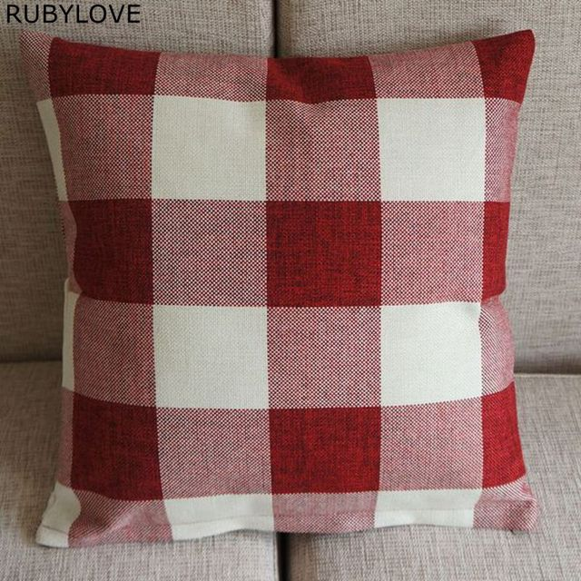 1pcs High Quality Cotton Blend Linen Red White Checked Home Office Sofa Soft Decor Pillow Case Cushion Cover 45cm 18 Pt172