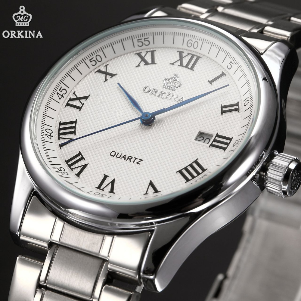 Orkina Relojes 2016 New Clock Men Luxury Elegant Date Display Silver Case White Dial Band Wrist Watch Cool Horloges Mannen orkina montres 2016 new clock men quarz watch uhr uhr cool horloges mannen gift box wrist watches for men