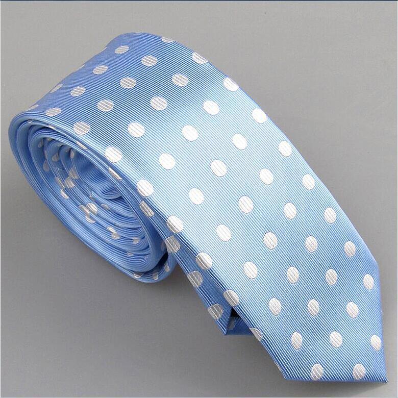 Lammulin Для Мужчин's Галстуки для костюма в точка жаккарда тканый шейный платок из микрофибры узкий галстук 6 см свадебные туфли, 10 цветов на выбор, брендовый мужской - Цвет: sky blue w Silver
