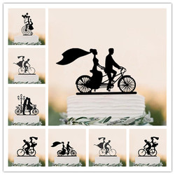 Mixed Black Acrylic Bicycle Style Wedding Cake Topper Bride & Groom Silhouette Cake Topper