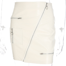 Waatfaak PU Leather Skirts Womens Zipper Split Pocket Solid White Bodycon Slim High Waist Mini Pencil Skirt Elegant Fashion 2018
