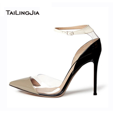 2016 New Fashion Pumps Shoes Women Elegant Office Shoes Transparent Mosaic Pointed Toe US Size 4-15 Women Shoes Handmade