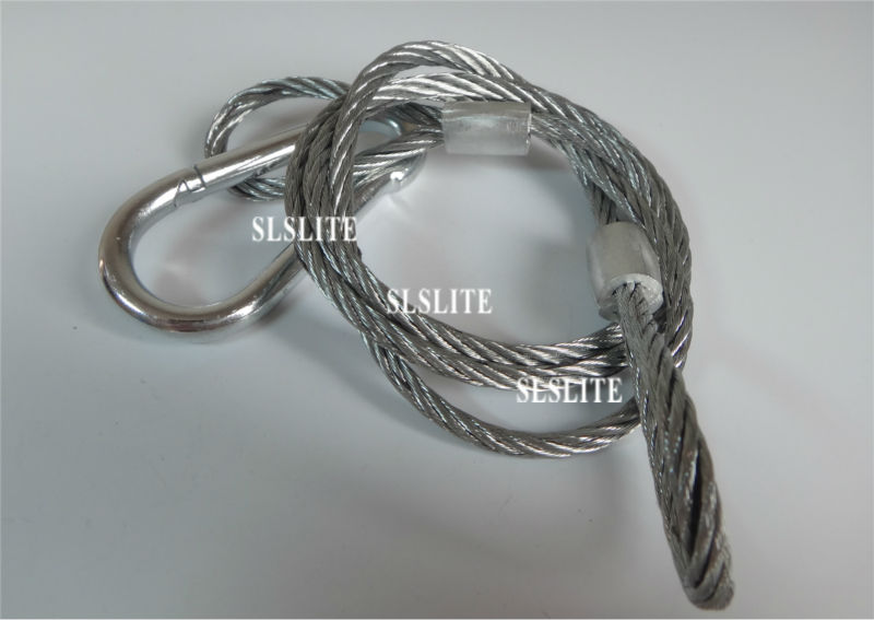 100XLOT Stainless Steel 95cmx5mm Led Stage Lighting Safety Wire Good Quality Strong Lock Head 50kg Load Long Cable