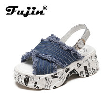 Fujin Brand 2019 Spring Summer and Autumn Slopes and Open Toe Platform Shoes Women Sandals New Crossover Platform Thick Sandals(China)