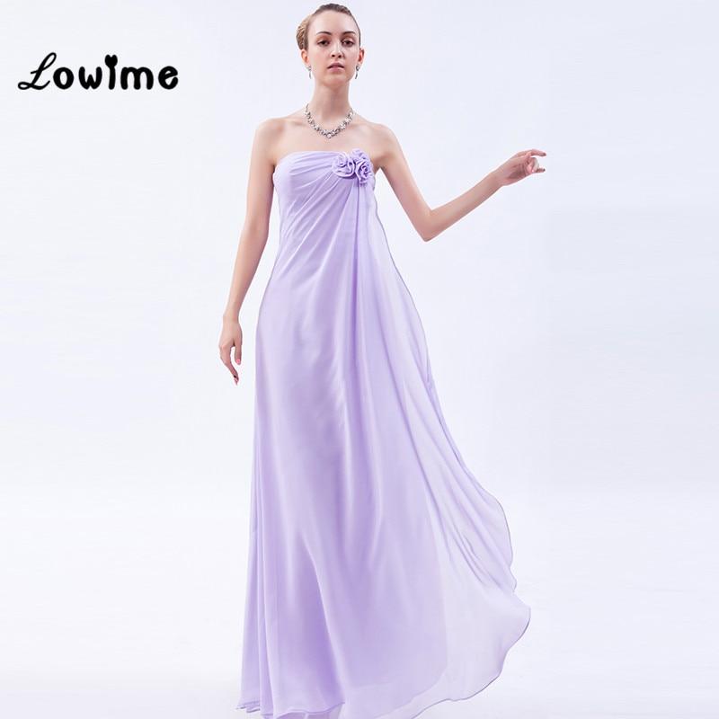 Niza hermosa lavanda Vestidos de dama de honor con el mantón flores ...