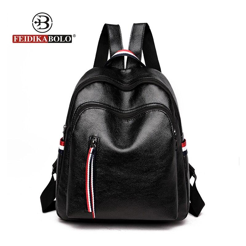 Leather Backpack Women Black Travel Bag Female New Bagpack High Quality School Bag Shoulder Bag For Youth Bags Rucksack