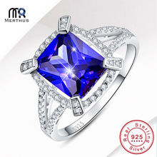Charming AAA Blue Zircon Gem 100% 925 Sterling Sliver Ring Wedding Engagement Cocktail Jewlery Lover Gift With Box Size 6 7 8 9