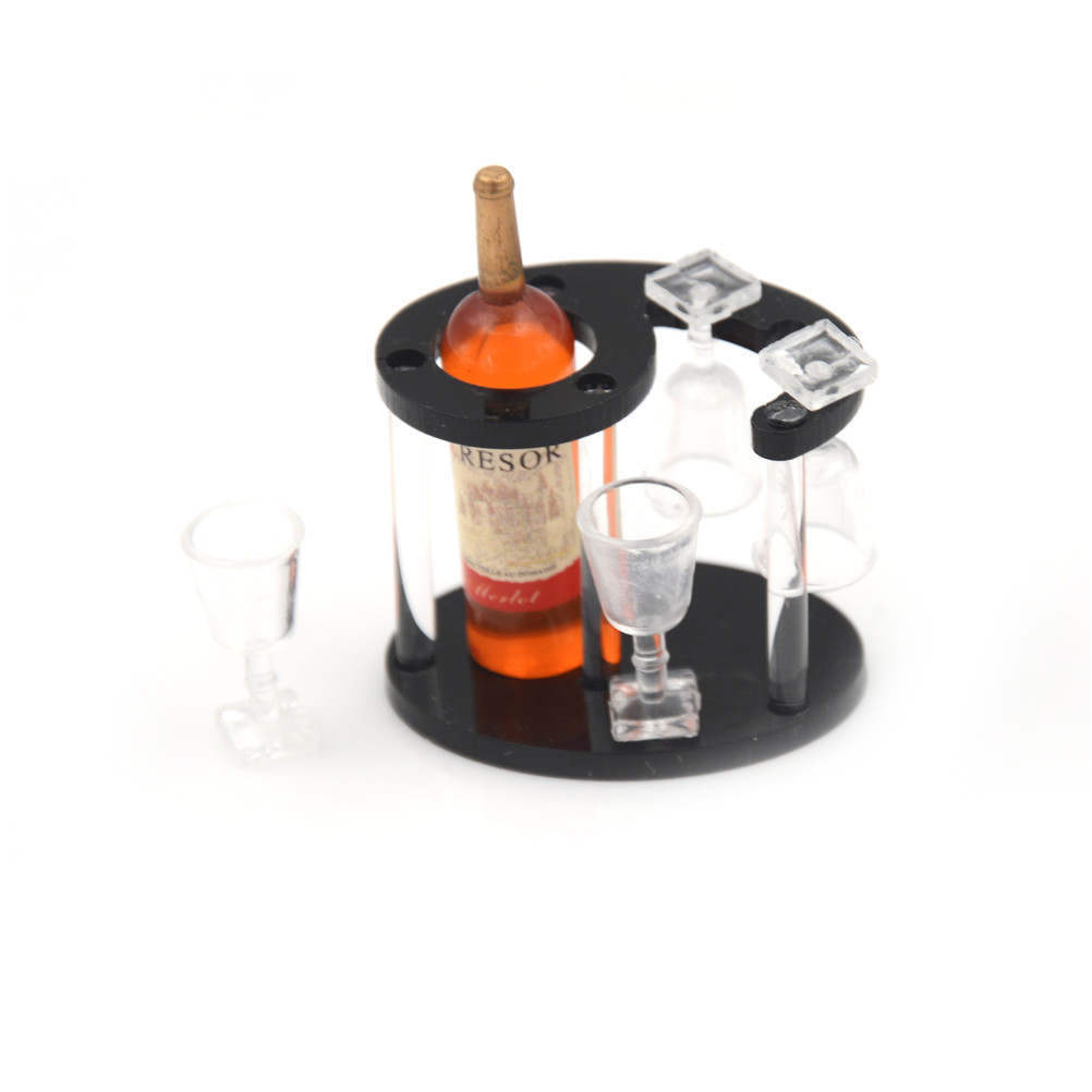 Small Wine Stand 2 Sets Wood Wine Racks Wooden Wine Holder Stand Champagne Bottle Rack Glasses Cups Dollhourse Kitchen Accessories