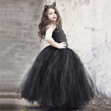 Black Solid Girls Tutu Skirt Kids Long Princess Fluffy Cat Halloween Party Cosplay Tulle Skirts Clothes