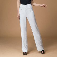 Free shipping women's designer the Korean version of the new white pure slim sexy waist trousers ladies flared bell bottoms sale