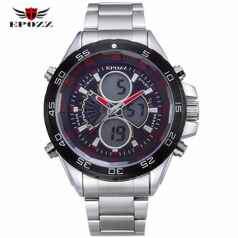 Epozz Marke Neue Quarzuhr Für Männer Unternehmen Große Voller Stahl Silber Uhren Lässige Mode Led-anzeige Wasserdichte Uhr 1103 Sparen Sie 50-70%