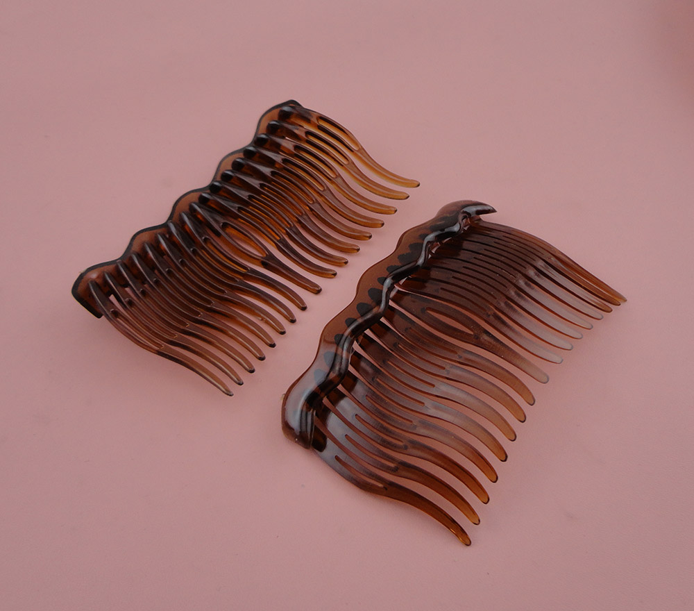10PCS 5.4cm*8.5cm 17teeth Clear Dark Brown Plain Plastic Hair Combs waved teeth for Handmade diy hair accessories,Side comb ...