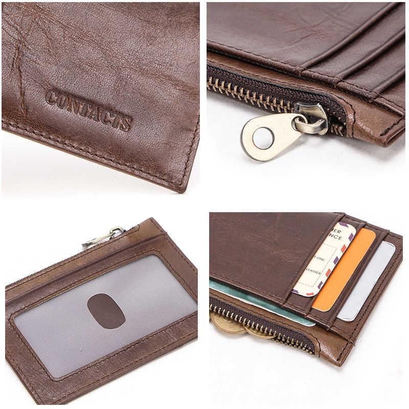 ติดต่อ 100% ของแท้หนังกระเป๋าสตางค์ MINI Slim กระเป๋าสตางค์ชาย Zipper กระเป๋าเหรียญบัตรเครดิต bifold