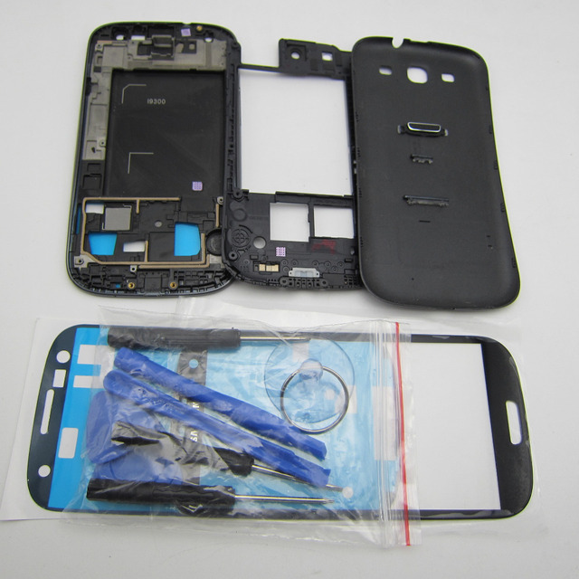 Phone Replacement Parts Full Housing Cover Middle frame Back Case For Samsung Galaxy S3 i9300 & Front Glass & OCA glue & Tools