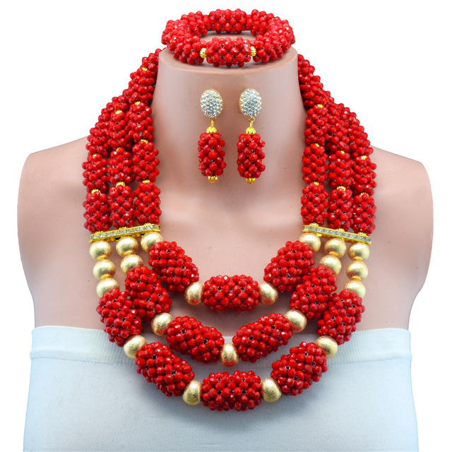 Hesiod Indian Wedding Jewelry Sets Gold Color Full Crystal: Red Handmade Copper Beads African Wedding Jewelry Set