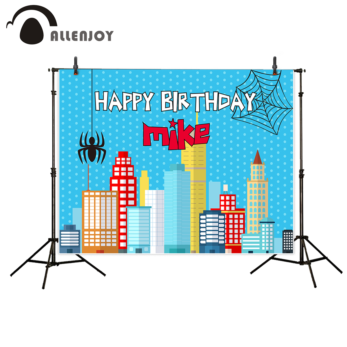 Allenjoy photography theme background spots Cartoon Birthday Spider City Child photography photocall backdrops photo studio prop 3 5m vinyl custom photography backdrops prop nature theme studio background j 066
