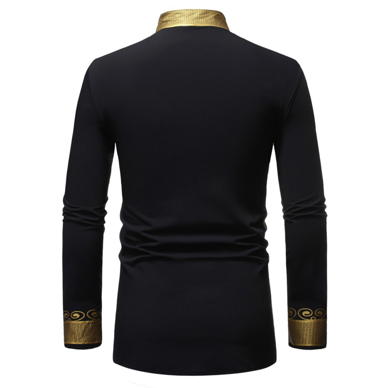 Fashion Standing Collar MenS Long Sleeve Pure Blouse Top By Charberry Mens New T-Shirt