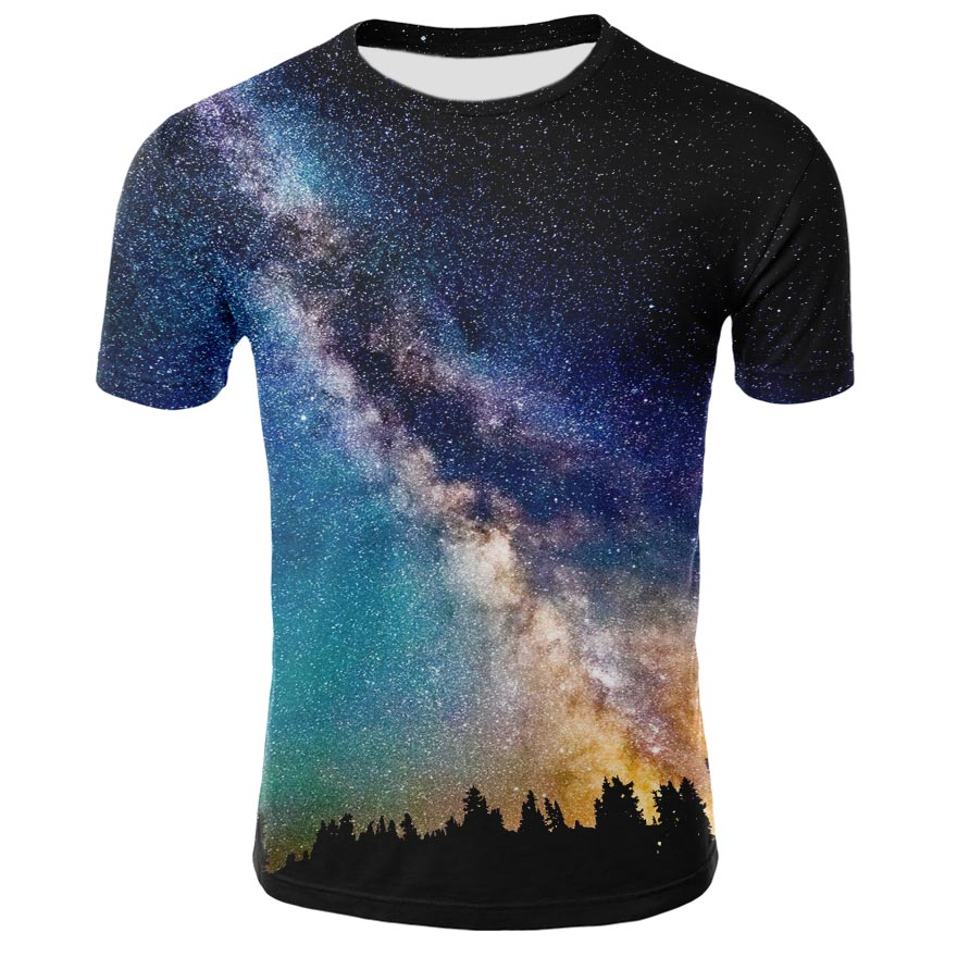 Crewneck Tshirts Tops Kids Fashion Children Boy/girl Summer 3d Tees Print-Trees Space