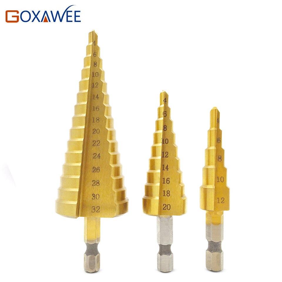GOXAWEE 3 pcsTitanium paso brocas 4-12mm 4-20mm 4-32mm HSS herramientas eléctricas de alta velocidad de madera Metal taladro cortador de agujero